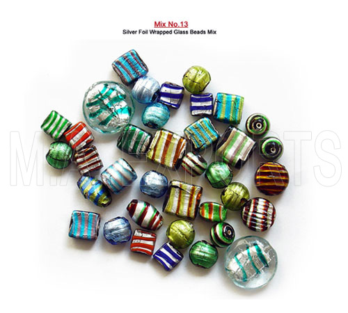 Silver Foil Wrapped Glass Beads Mix