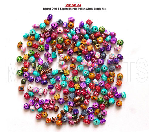 Round Oval & Square Marble Polish<br>Glass Beads Mix