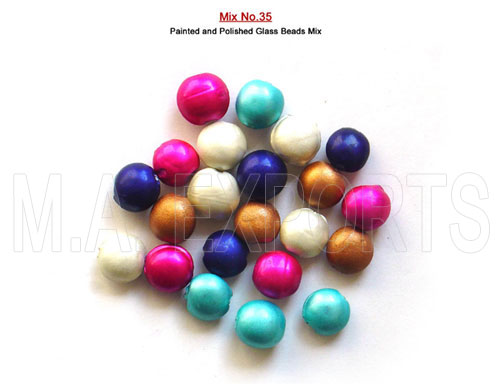Painted And Polished Glass Beads Mix