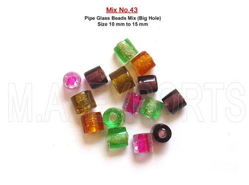 Pipe Glass Beads Mix (Big Hole)<br>(10mm x 15mm)